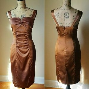 """Golden Goddess""- Retro 90s Silky Sheath Dress"